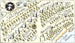 The two-page map from Blue Jay invites readers to pore over it and refer to it throughout reading.